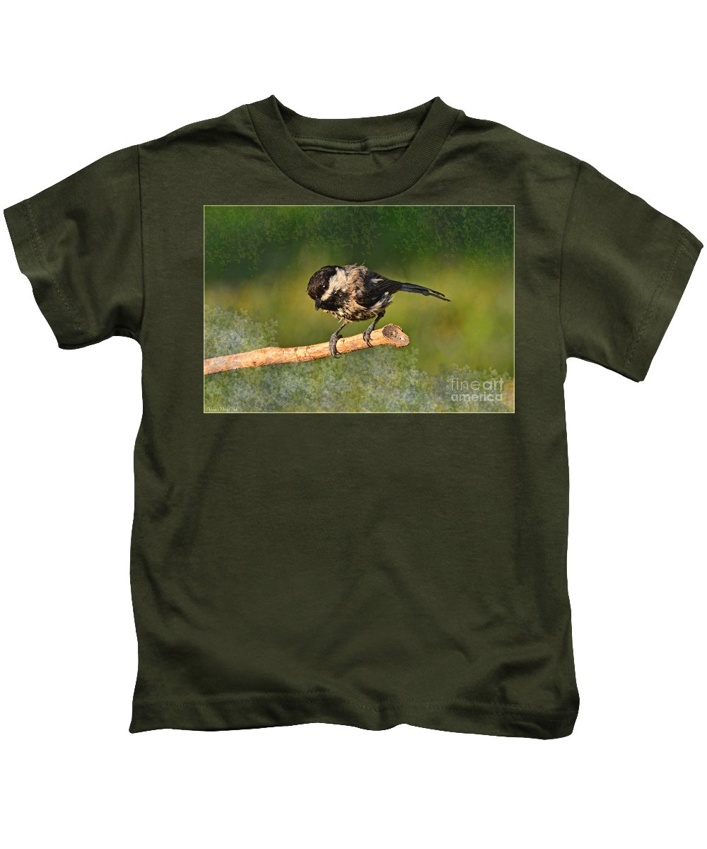 Nature Kids T-Shirt featuring the photograph Young Chickadee by Debbie Portwood