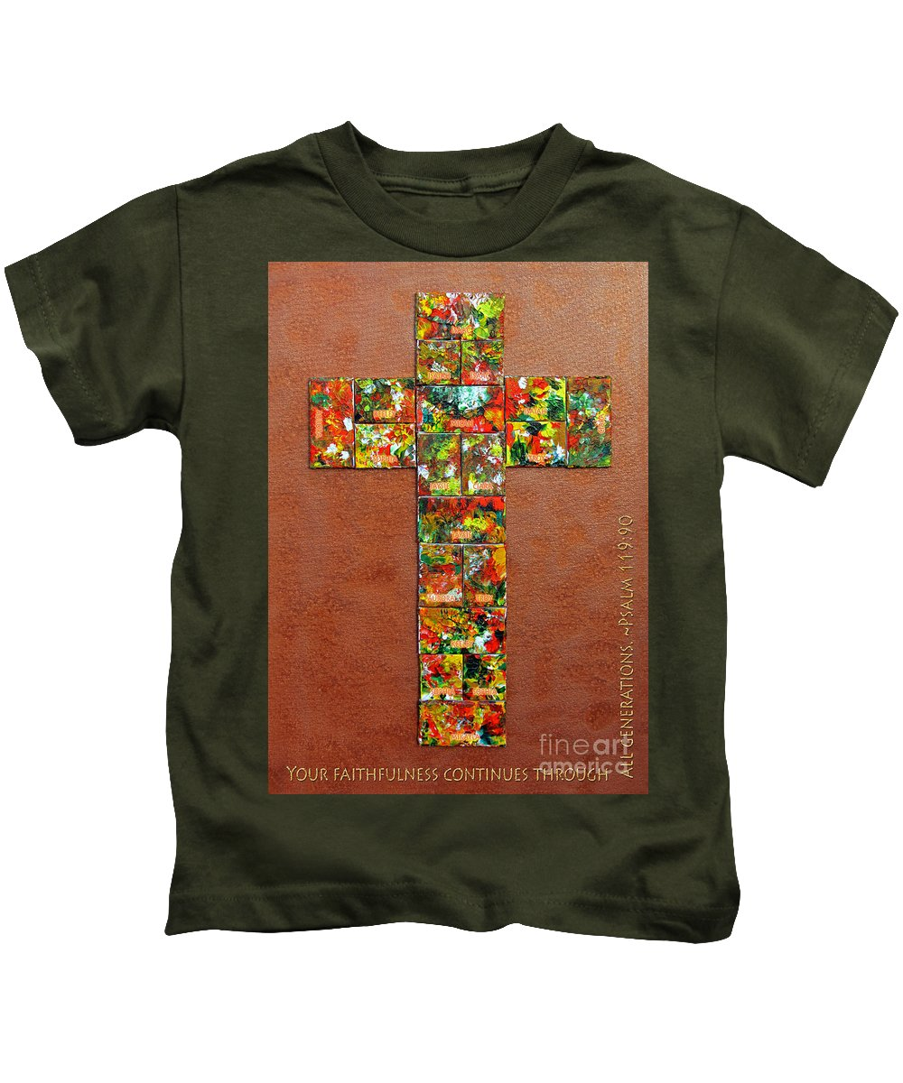 Kids T-Shirt featuring the mixed media Your Faithfulness by Gwyn Newcombe