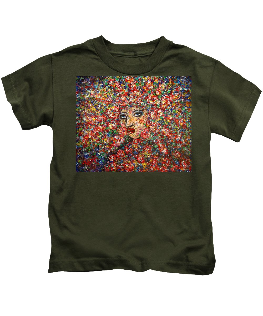 Woman Kids T-Shirt featuring the painting  Gentle Beautiful Flower by Natalie Holland