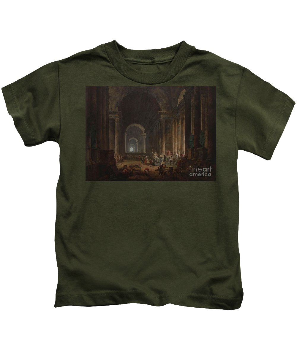 Hubert Robert - 1773 Finding Of The Laocoon Kids T-Shirt featuring the painting Finding Of The Laocoon by MotionAge Designs