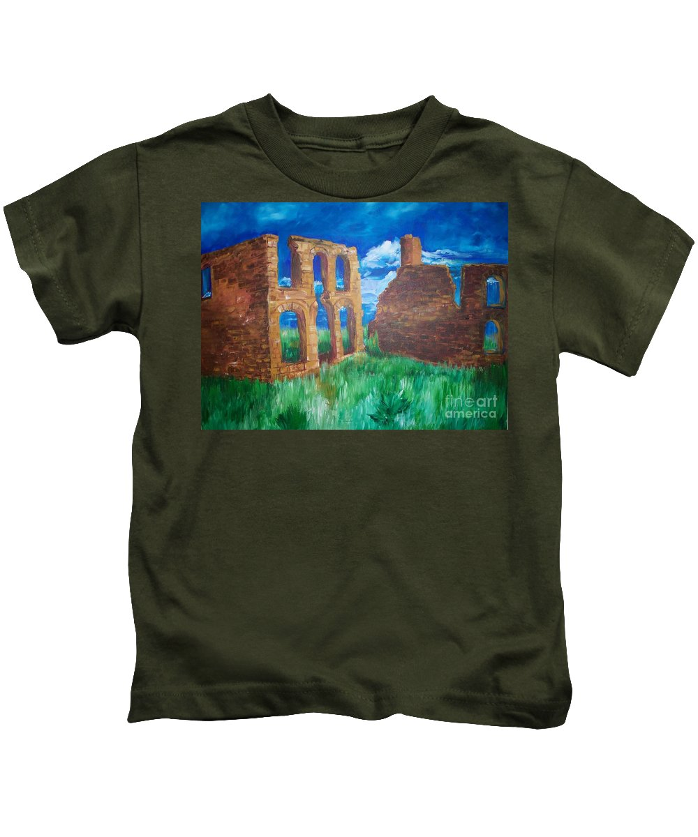 Western_landscapes Kids T-Shirt featuring the painting Ghost Town by Eric Schiabor