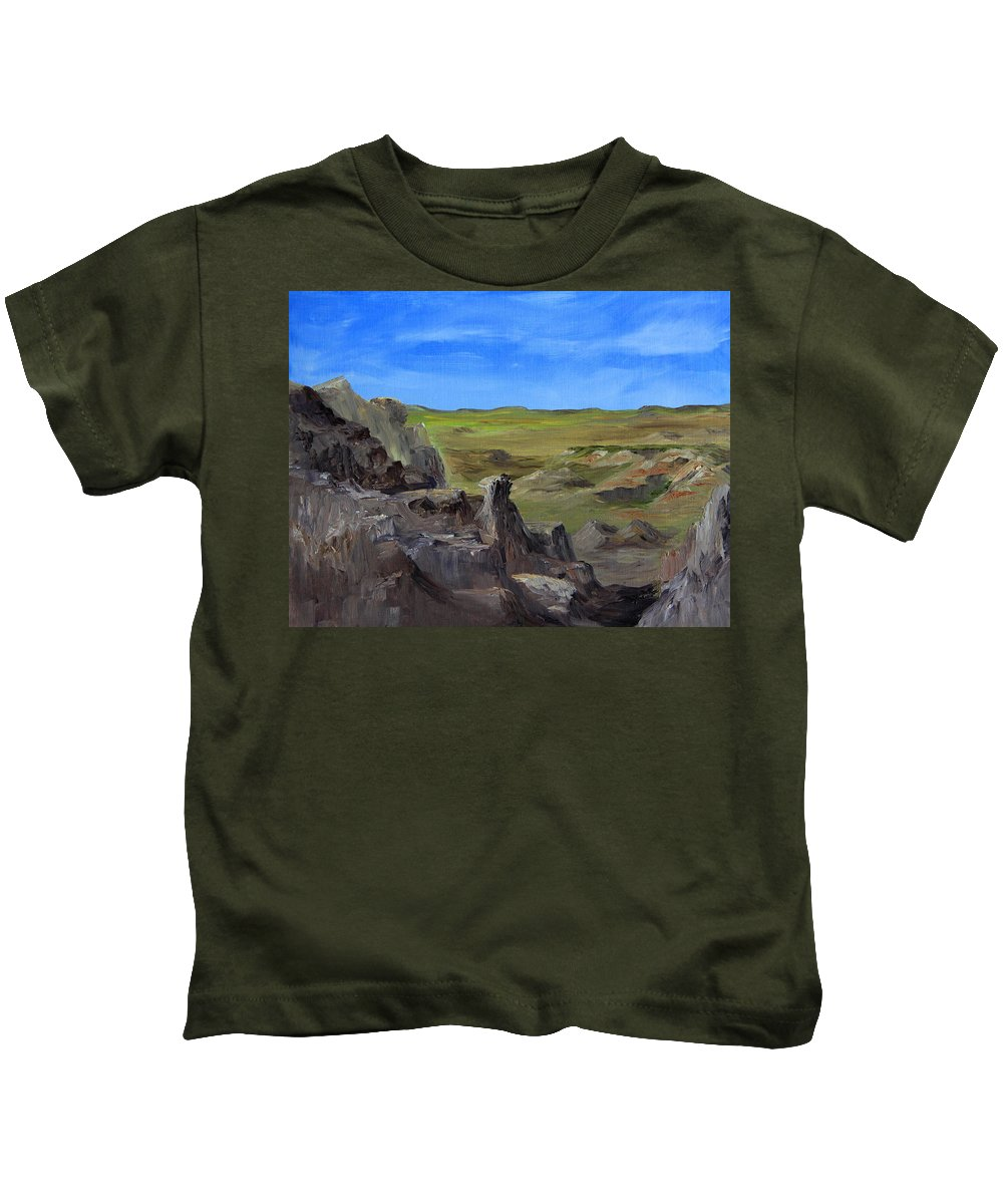 Badlands Kids T-Shirt featuring the painting Hunters Overlook Badlands South Dakota by Joi Electa