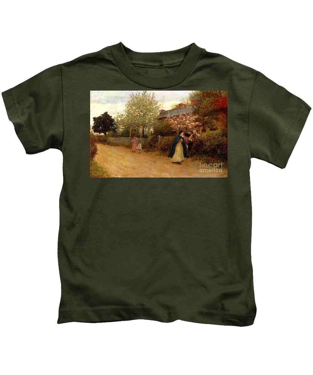 Hubert Von Herkomer - Our Village Nurse Kids T-Shirt featuring the painting Our Village Nurse by MotionAge Designs