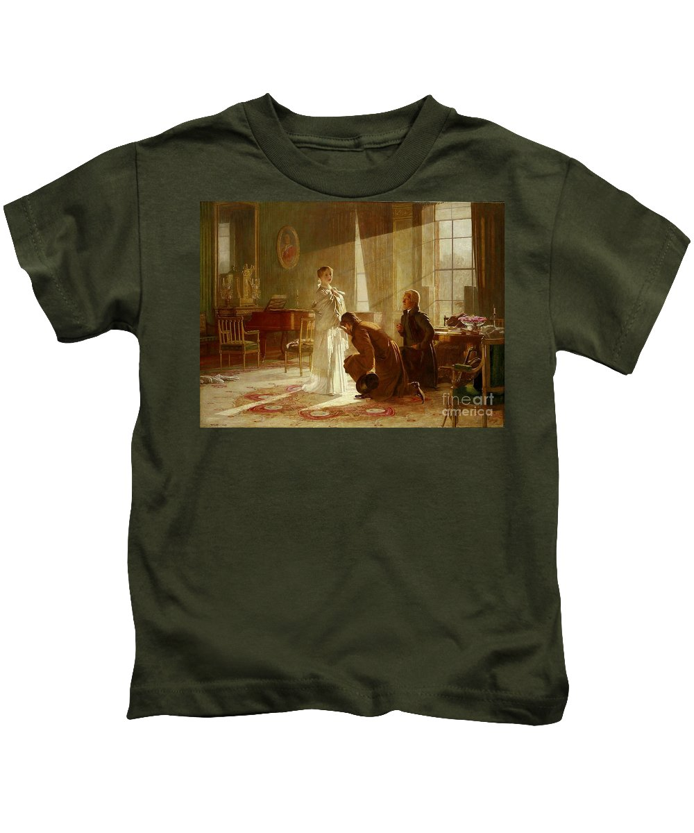 Henry Tanworth Wells - Queen Victoria Receiving News Of Her Accession To The Throne Kids T-Shirt featuring the painting Queen Victoria Receiving News by MotionAge Designs