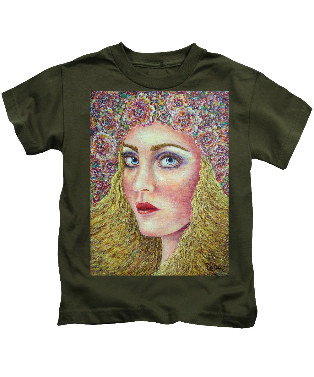 Woman Kids T-Shirt featuring the painting  The Flower Girl by Natalie Holland