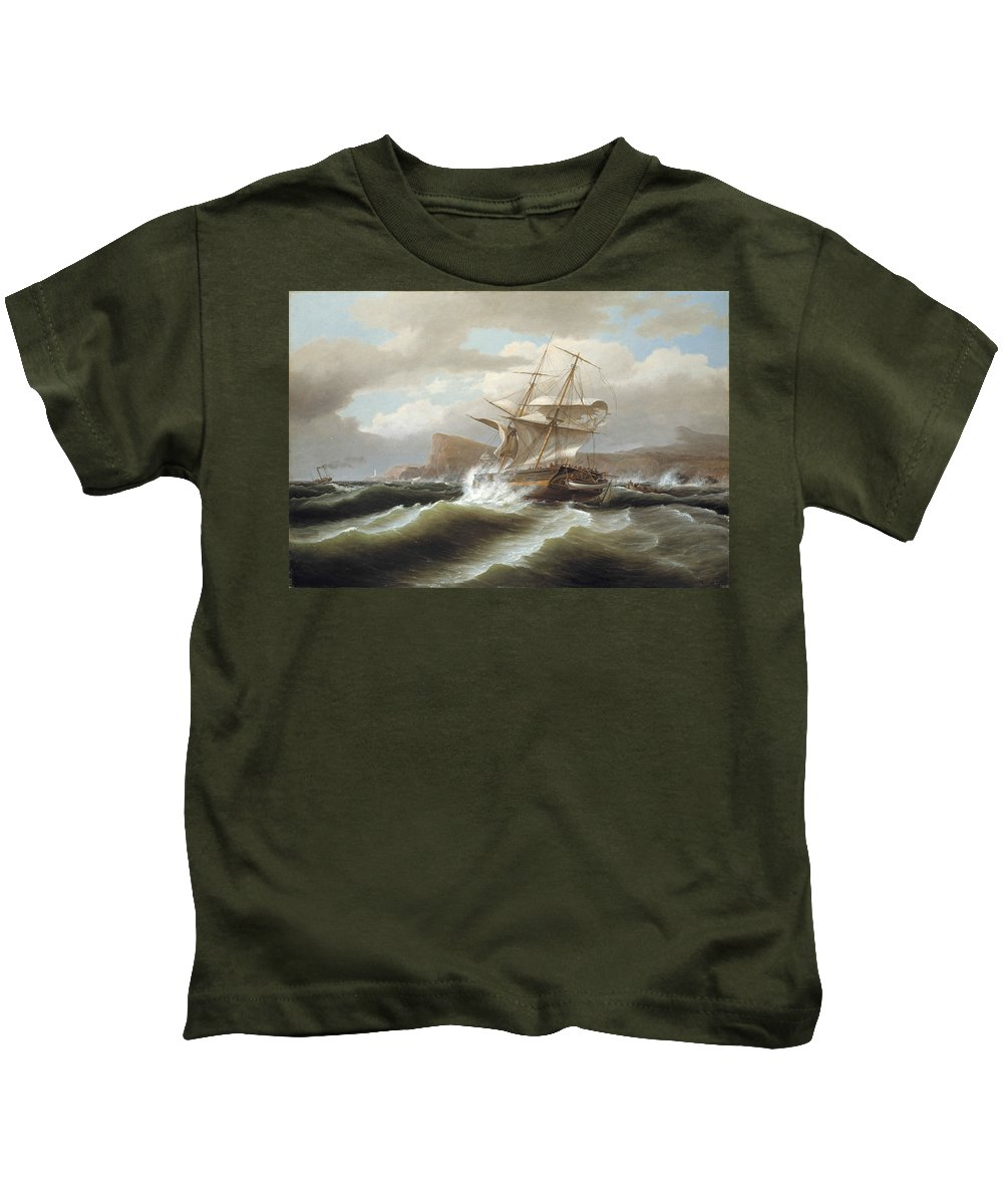 Thomas Birch Kids T-Shirt featuring the painting An American Ship In Distress by Thomas Birch
