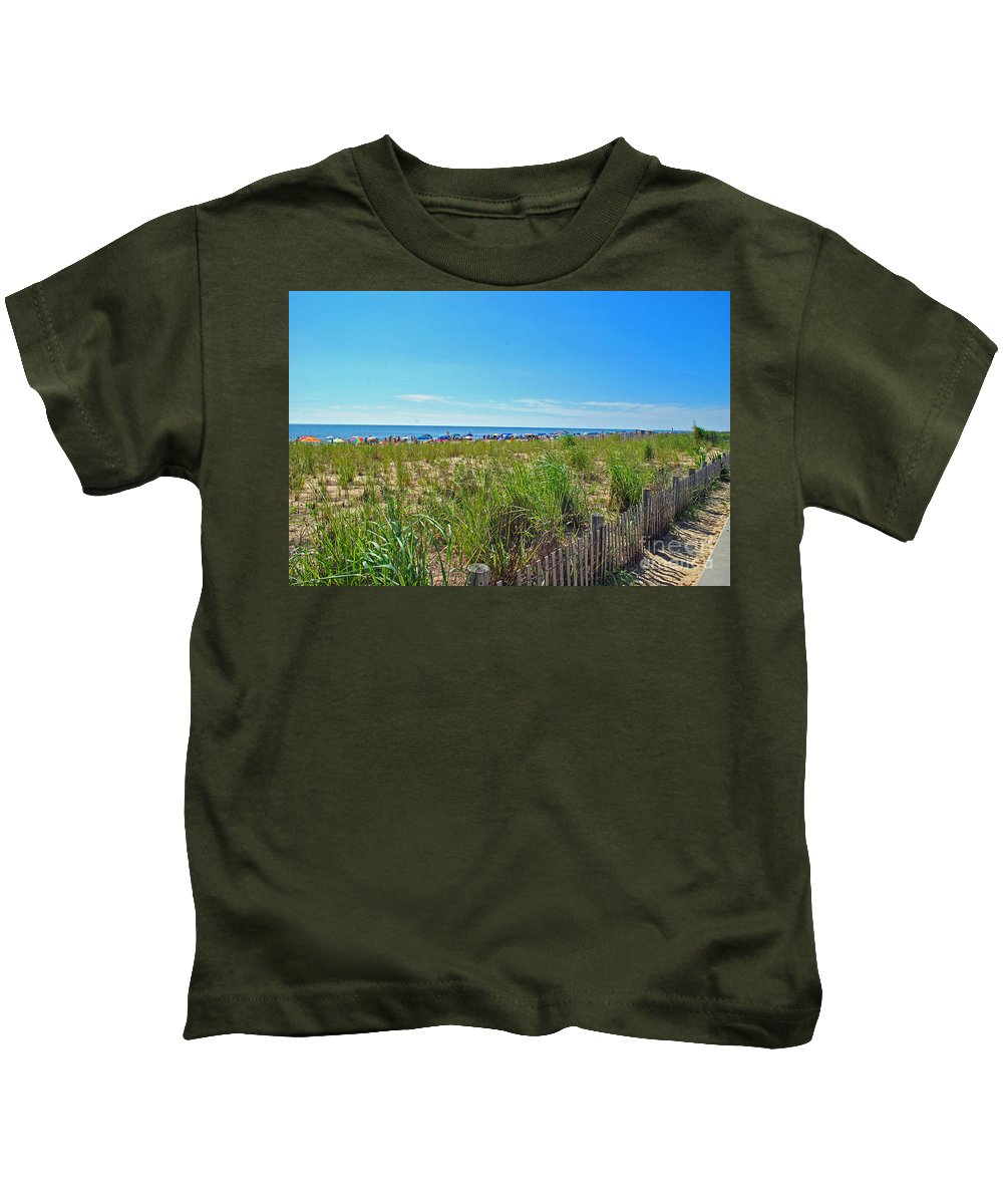 Rehoboth Kids T-Shirt featuring the photograph At The Beach by Jost Houk