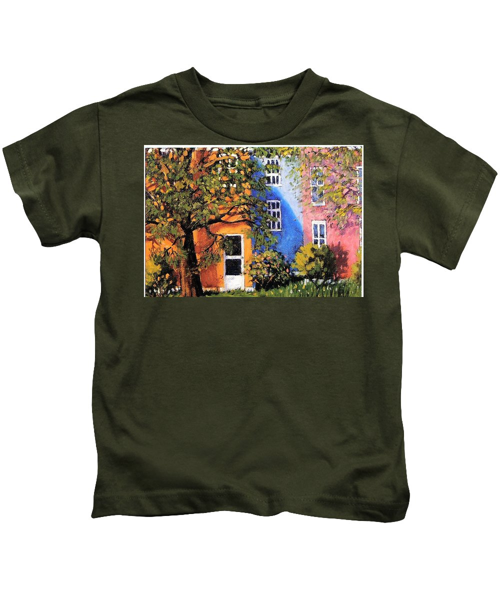 Scenic Kids T-Shirt featuring the painting Backyard by Jonathan Carter