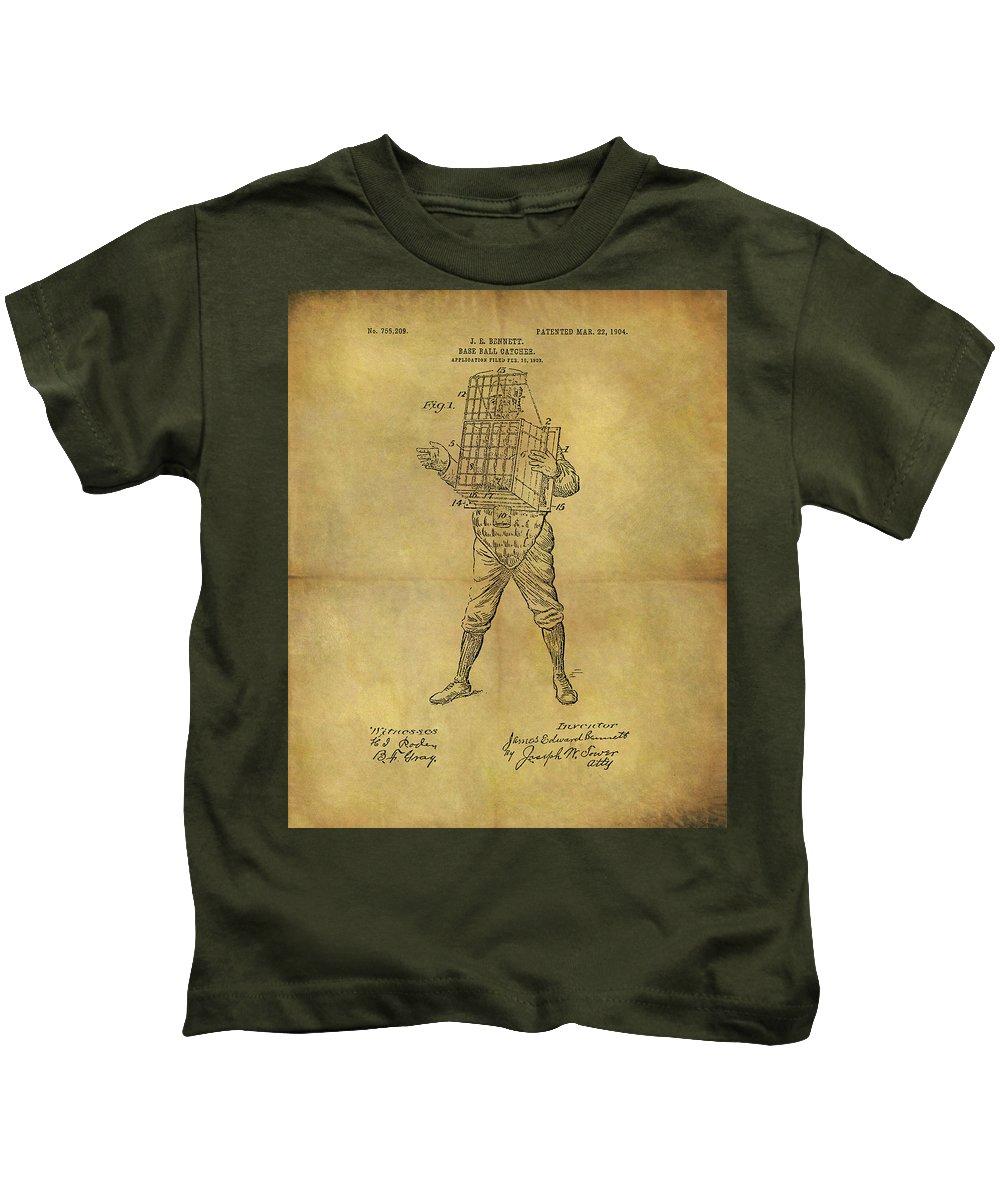 Baseball Catcher's Mask Patent Kids T-Shirt featuring the drawing Baseball Catcher's Mask Patent by Dan Sproul