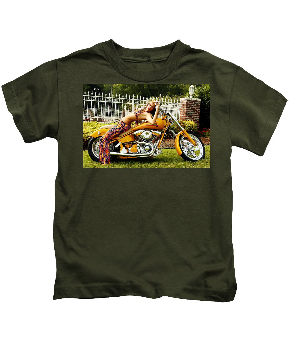 Clay Kids T-Shirt featuring the photograph Bikes And Babes by Clayton Bruster