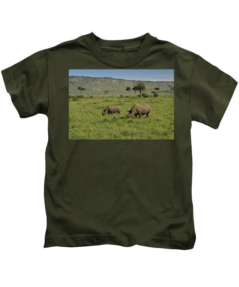 Africa Kids T-Shirt featuring the photograph Black Rhinos by Michele Burgess