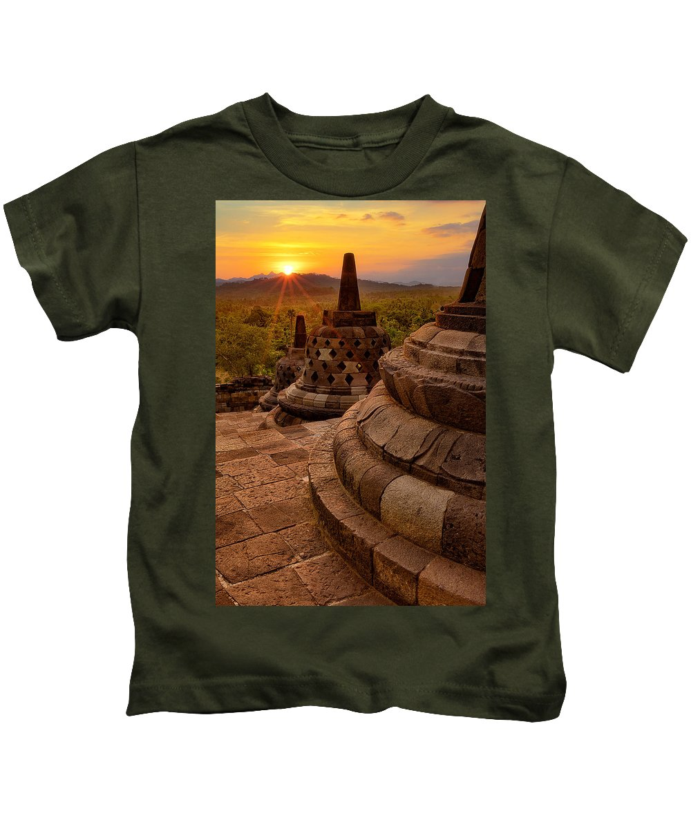 Kids T-Shirt featuring the photograph Borobudur by Nedjat Nuhi