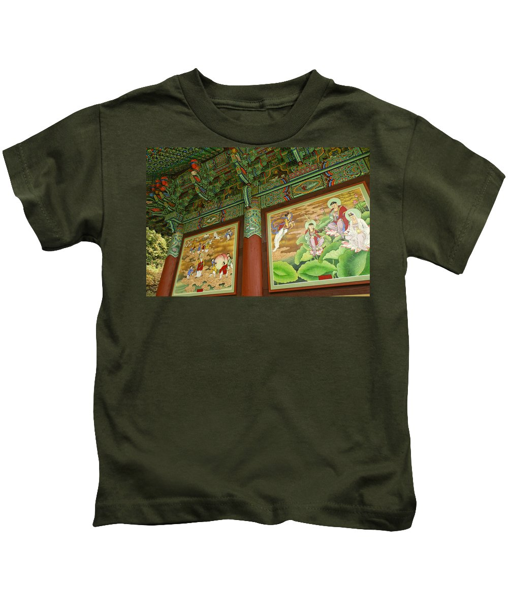 Buddha Kids T-Shirt featuring the photograph Buddhist Murals by Michele Burgess