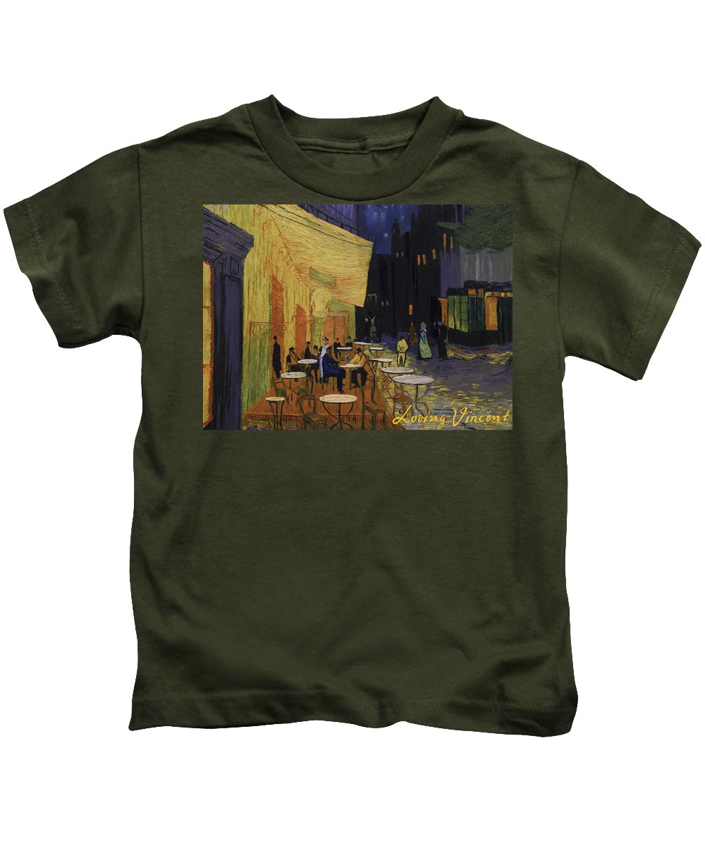Kids T-Shirt featuring the painting Cafe Terrace At Night by Marlena Jopyk-Misiak