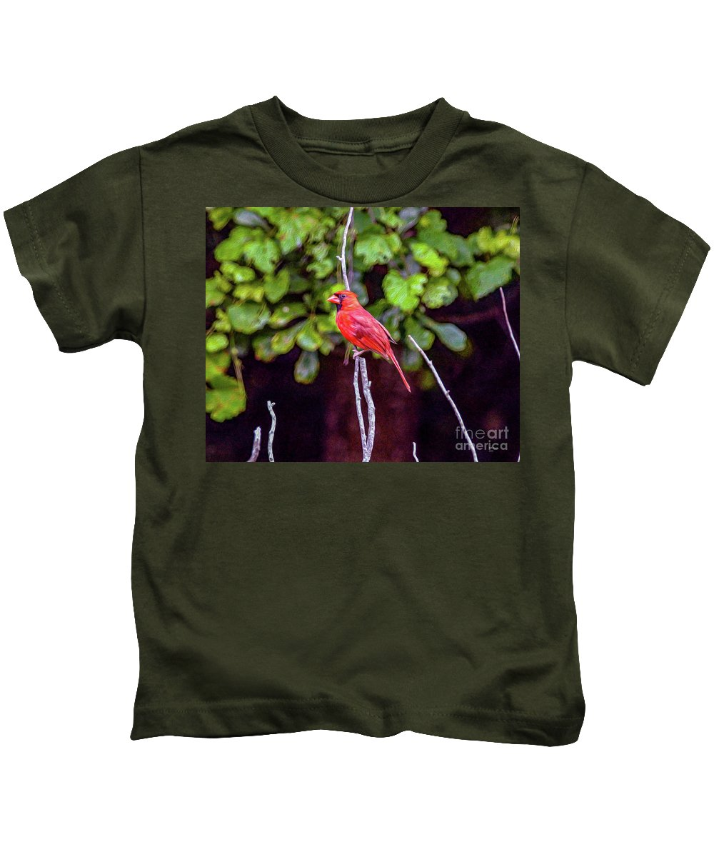 Nature Kids T-Shirt featuring the painting Cardinal Twigging A Break by Bill And Deb Hayes