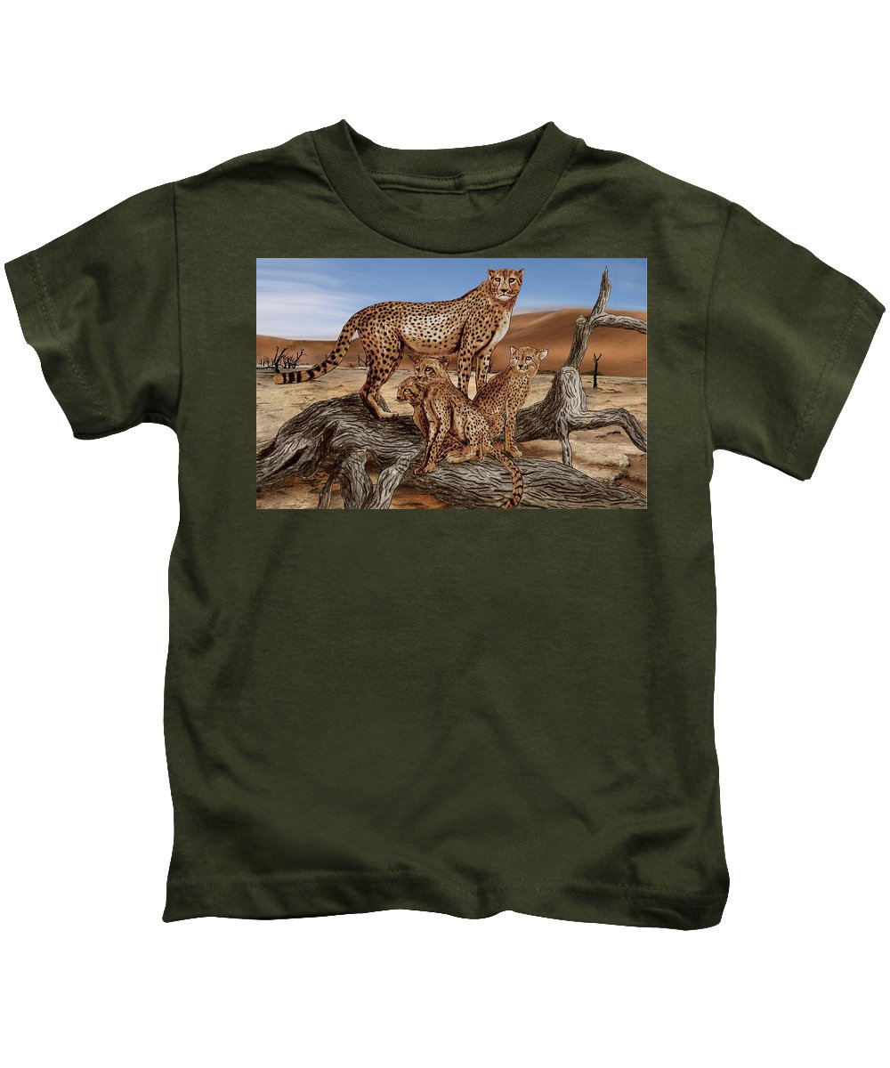 Cheetah Family Tree Kids T-Shirt featuring the drawing Cheetah Family Tree by Peter Piatt