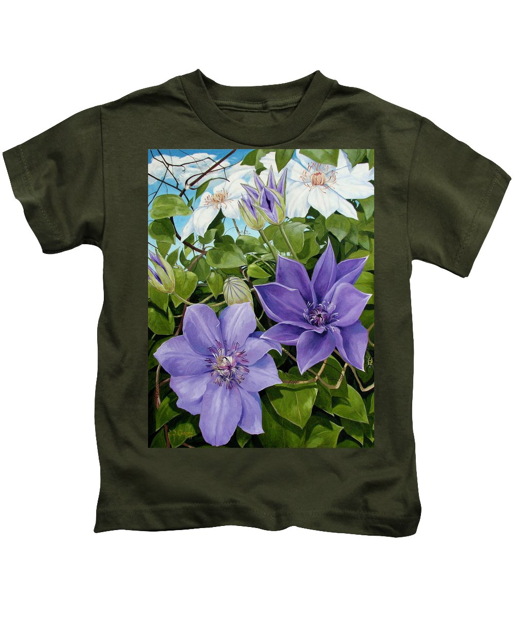 Clematis Kids T-Shirt featuring the painting Clematis 2 by Jerrold Carton