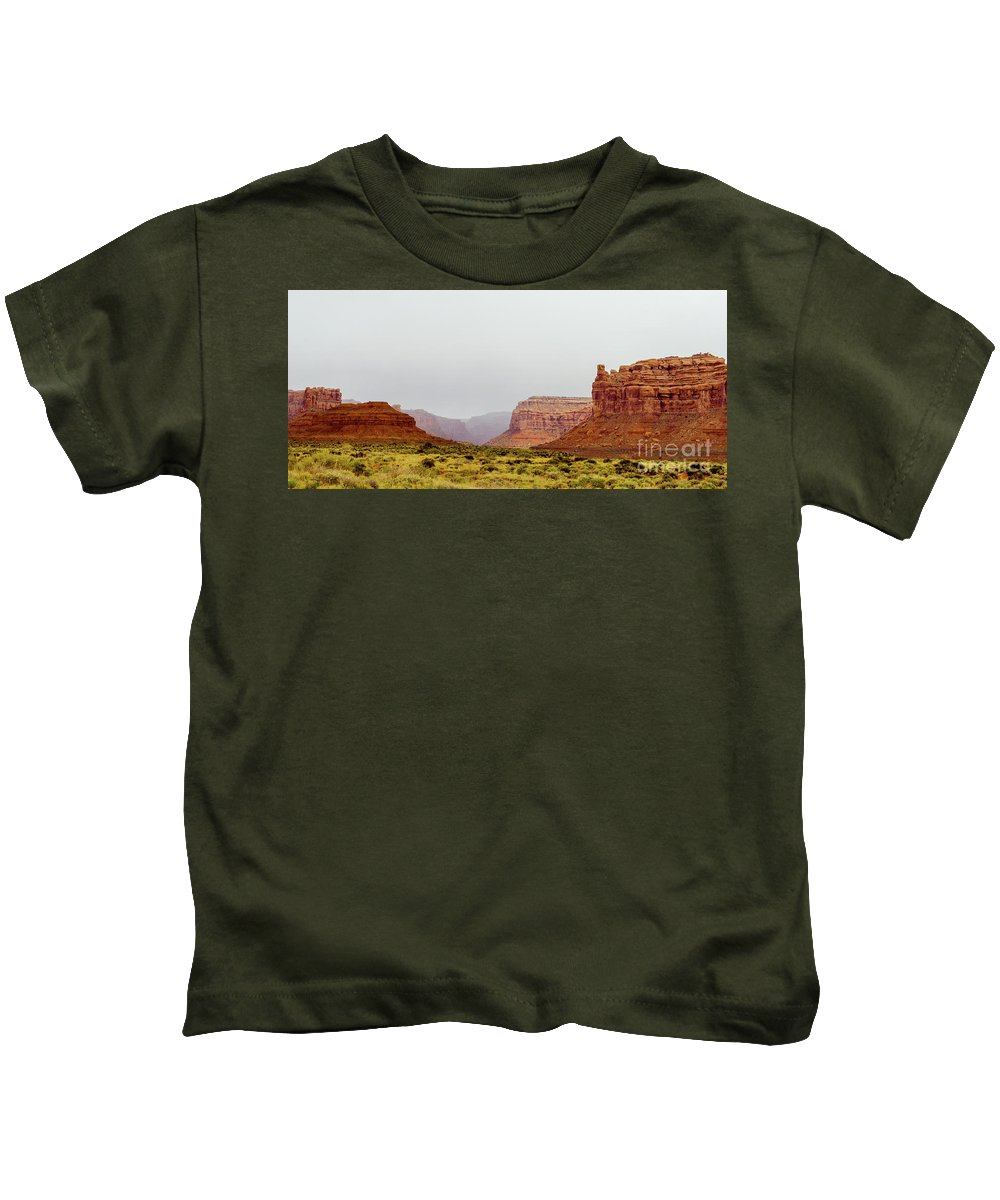 Valley Of The Gods Kids T-Shirt featuring the photograph Deep Valley by Jerry Sellers