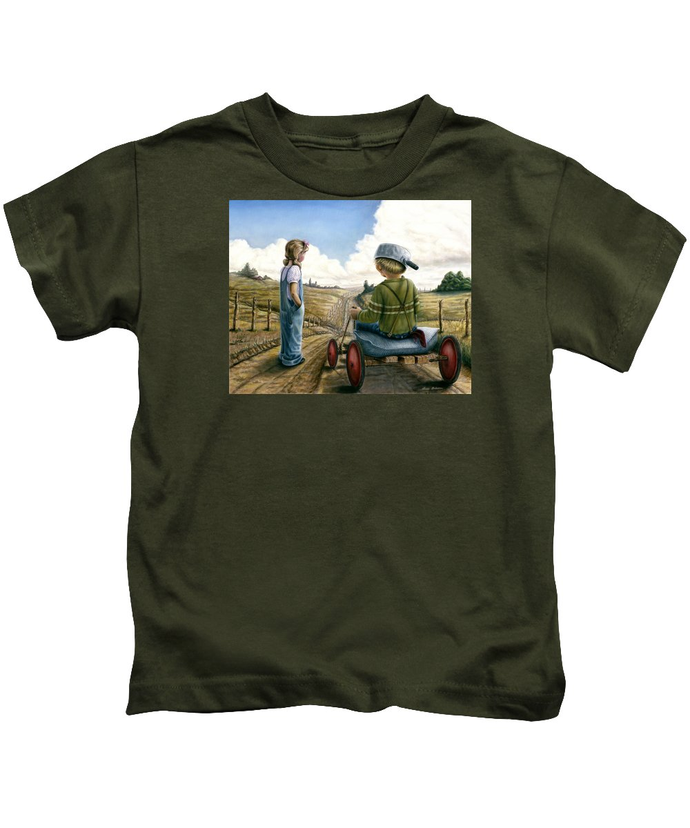 Children Playing Kids T-Shirt featuring the painting Down Hill Racer by Lance Anderson