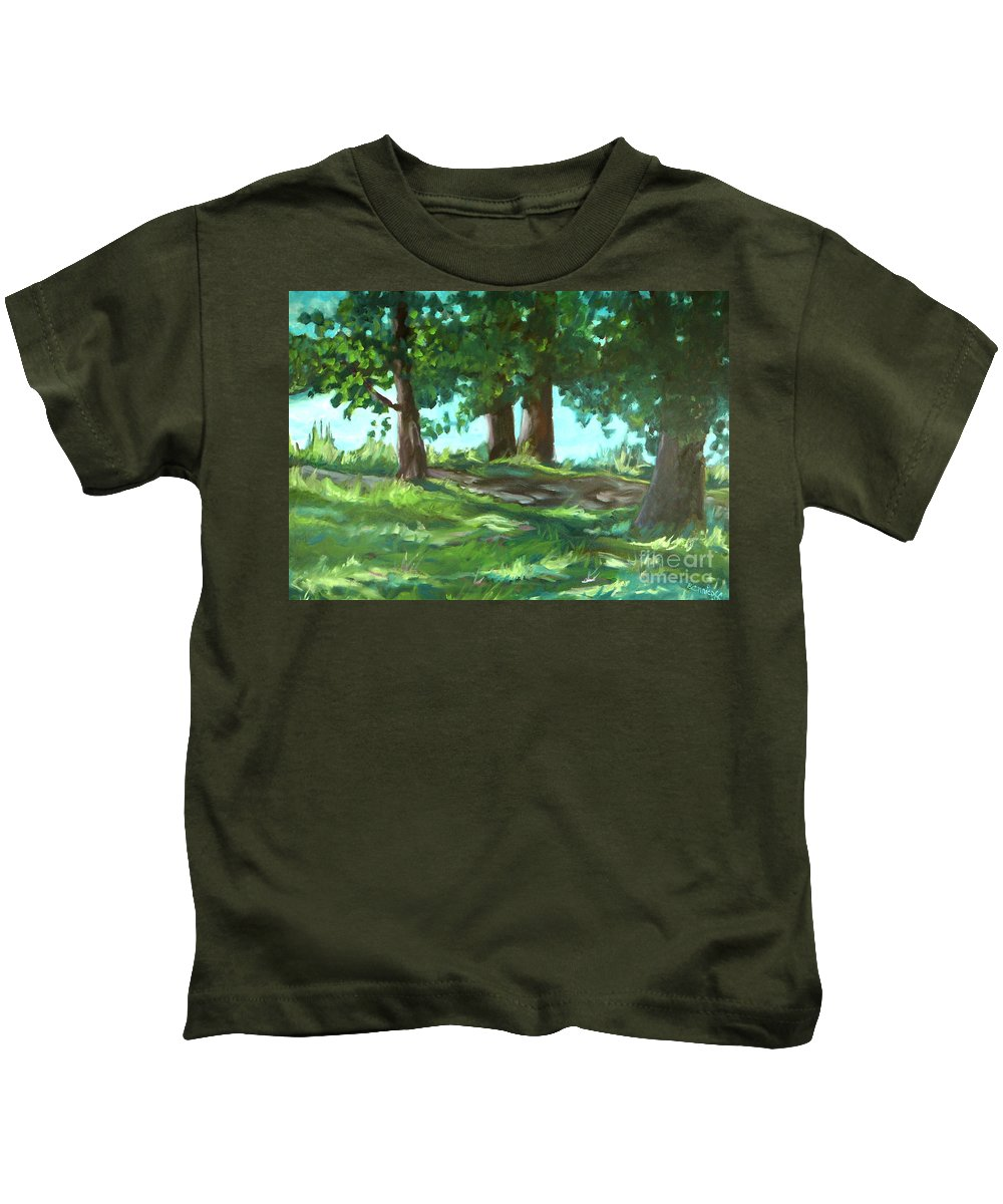 Expressionist Landscape Kids T-Shirt featuring the painting Dreaming On Fellows Lake by Jan Bennicoff
