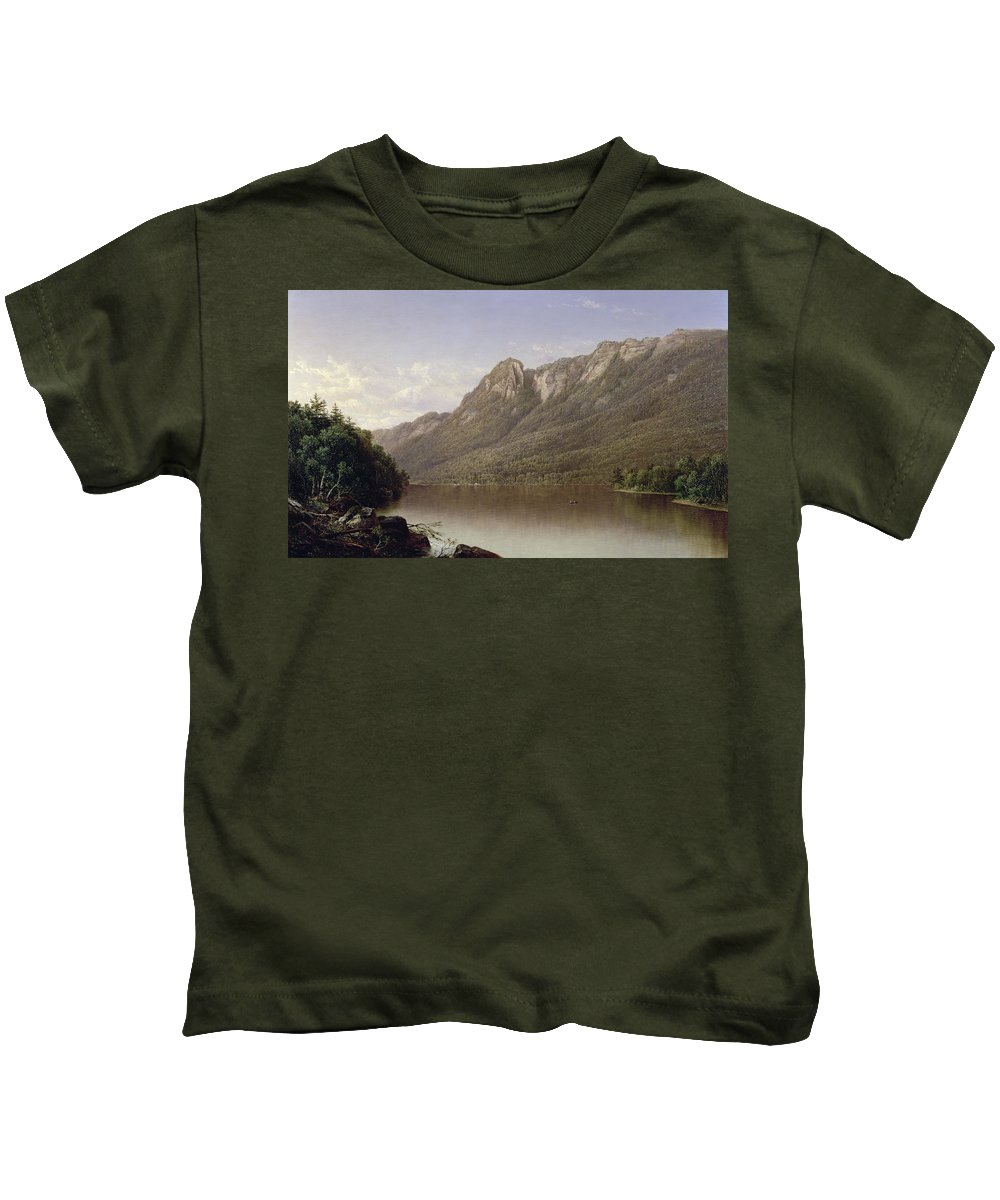 Eagle Cliff Kids T-Shirt featuring the painting Eagle Cliff At Franconia Notch In New Hampshire by David Johnson