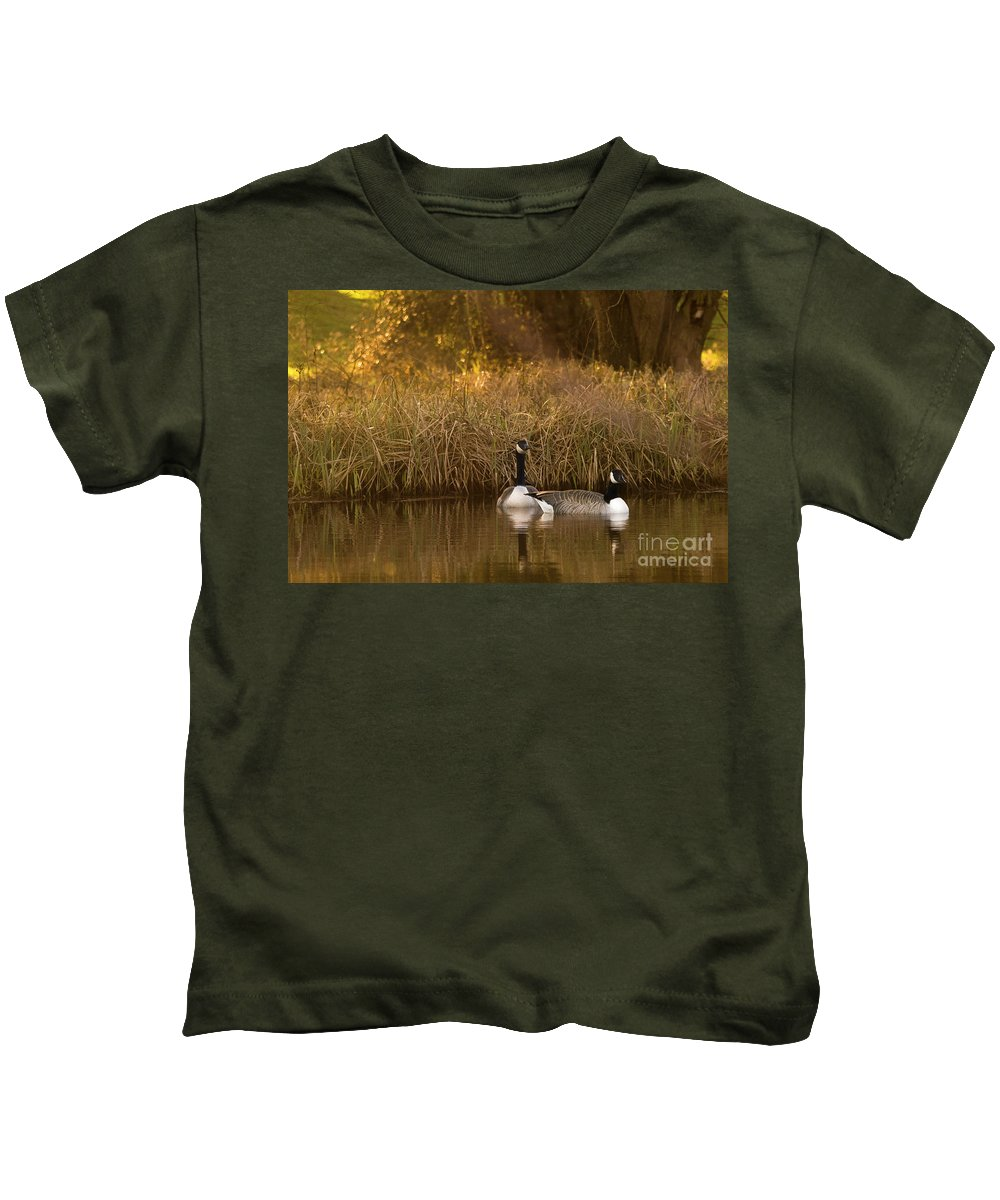 Sunset Kids T-Shirt featuring the photograph Evening By The Pond by Angel Ciesniarska