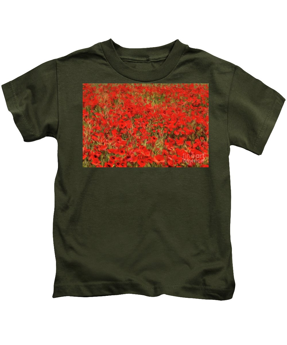 Landscape Kids T-Shirt featuring the painting Field Of Poppies by Sarah Kirk
