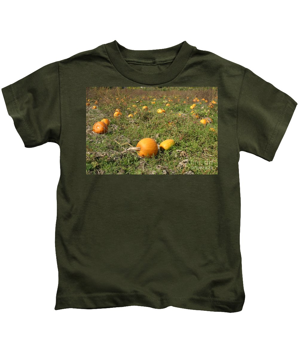 Pumpkin Kids T-Shirt featuring the photograph Field Of Pumpkins by Ted Kinsman