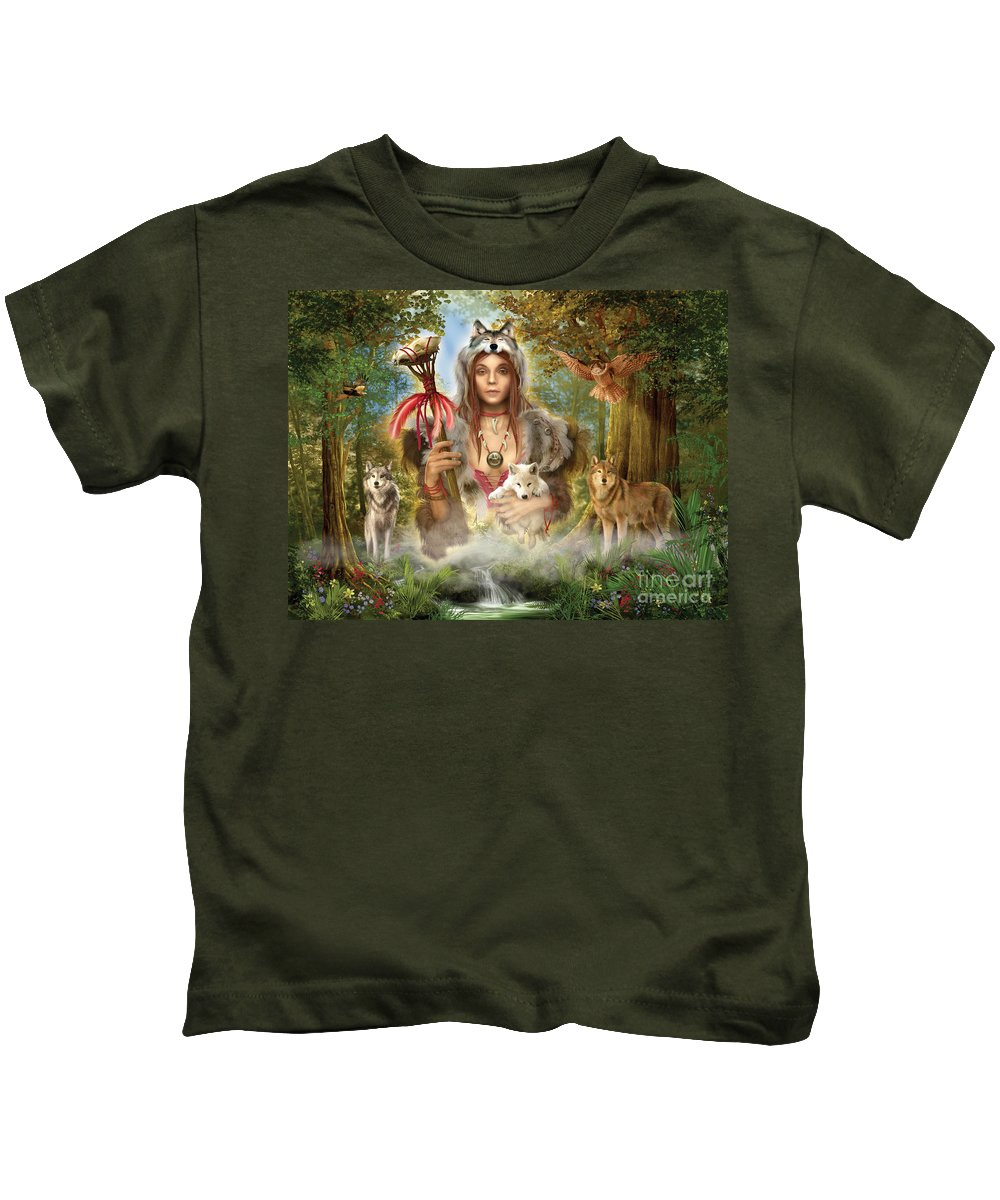 Magical Kids T-Shirt featuring the digital art Forest Wolves by Ciro Marchetti