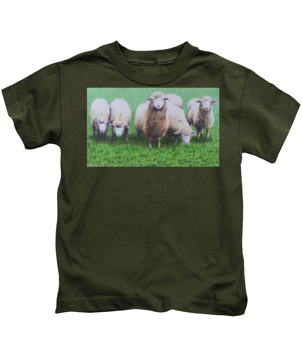 Sheep Kids T-Shirt featuring the mixed media Friends by Constance Drescher
