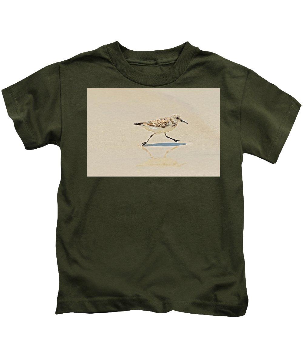 Wildlife Kids T-Shirt featuring the photograph Galapagos Mockingbird In Santa Cruz Island. by Marek Poplawski
