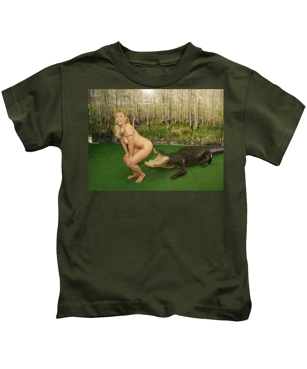 Www.naturesexoticbeauty.com Kids T-Shirt featuring the photograph Gator Bites by Lucky Cole