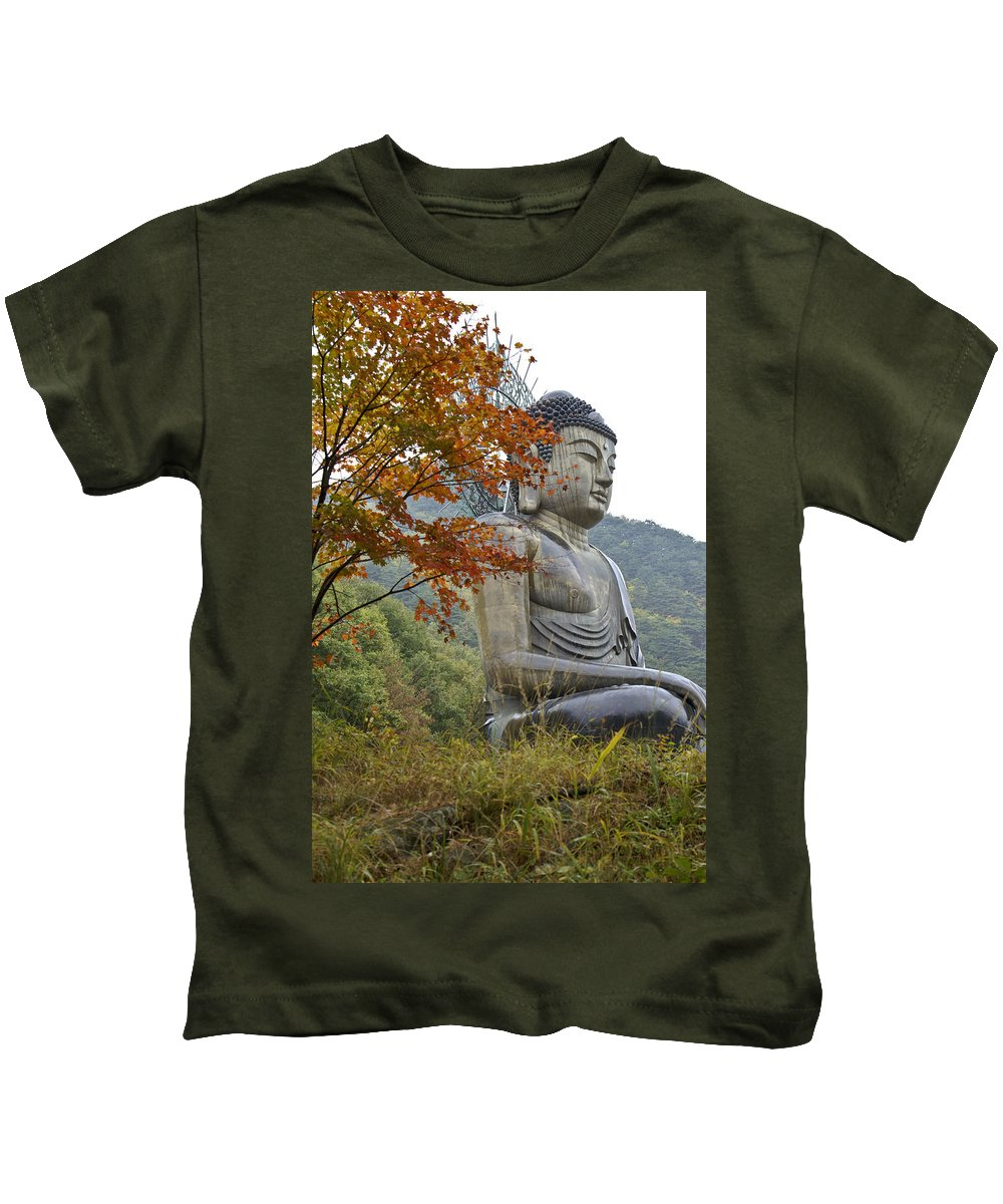 Buddha Kids T-Shirt featuring the photograph Great Buddha In Autumn by Michele Burgess