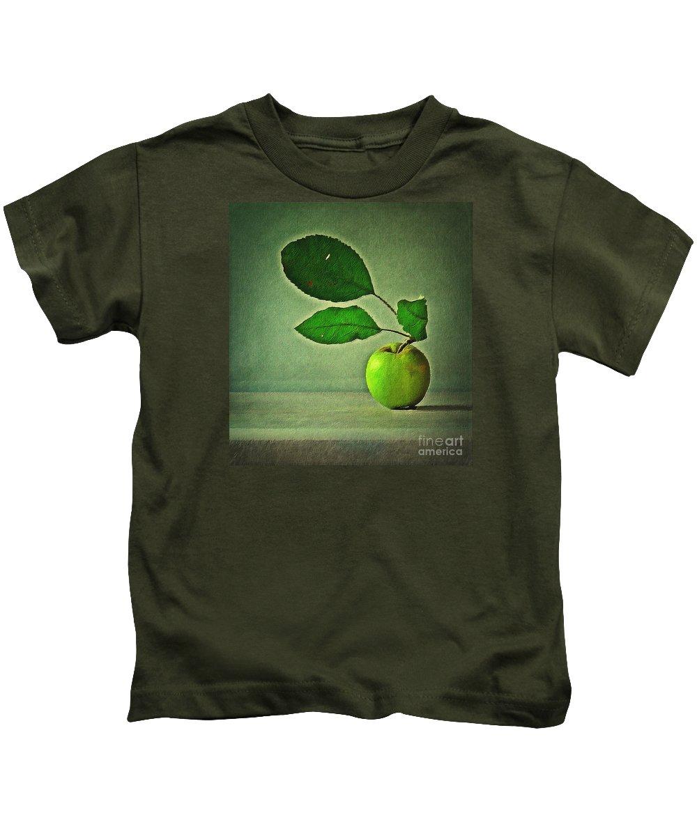 Apple Kids T-Shirt featuring the digital art Haiku by Binka Kirova