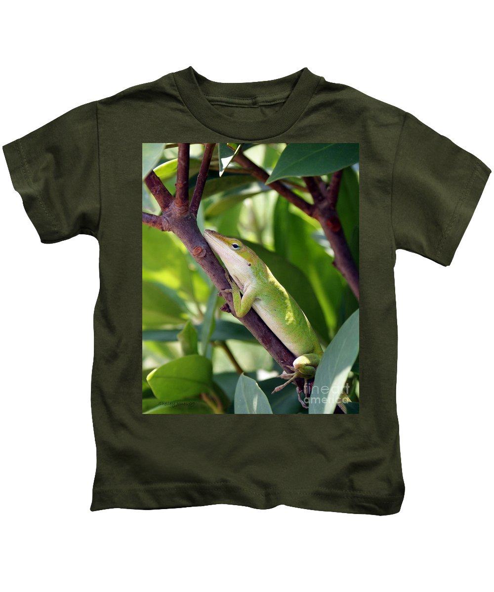 Photography Kids T-Shirt featuring the photograph Hanging On by Shelley Jones