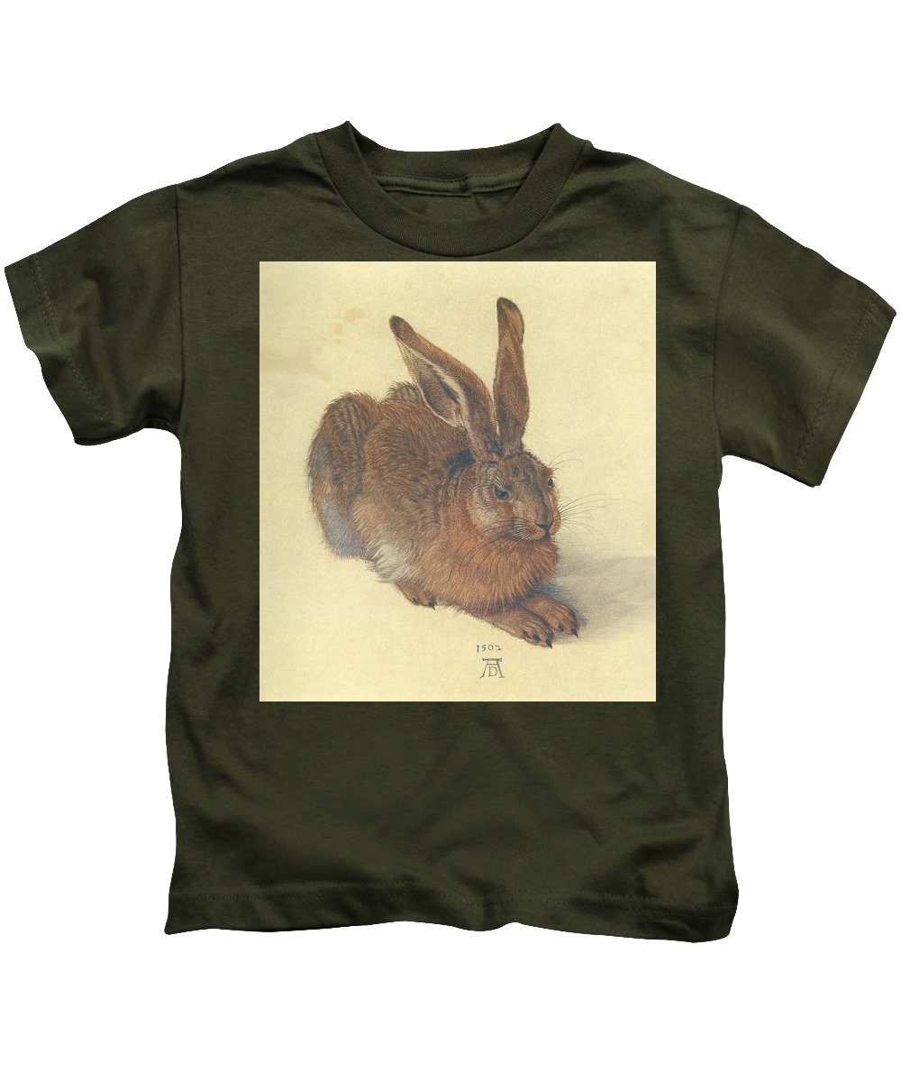 Albrecht Durer Kids T-Shirt featuring the painting Hare by Albrecht Durer
