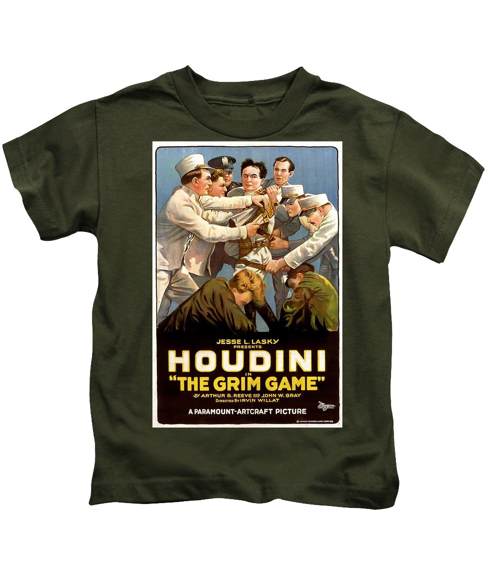 Movie Kids T-Shirt featuring the drawing Houdini In The Grim Game 1919 by Mountain Dreams