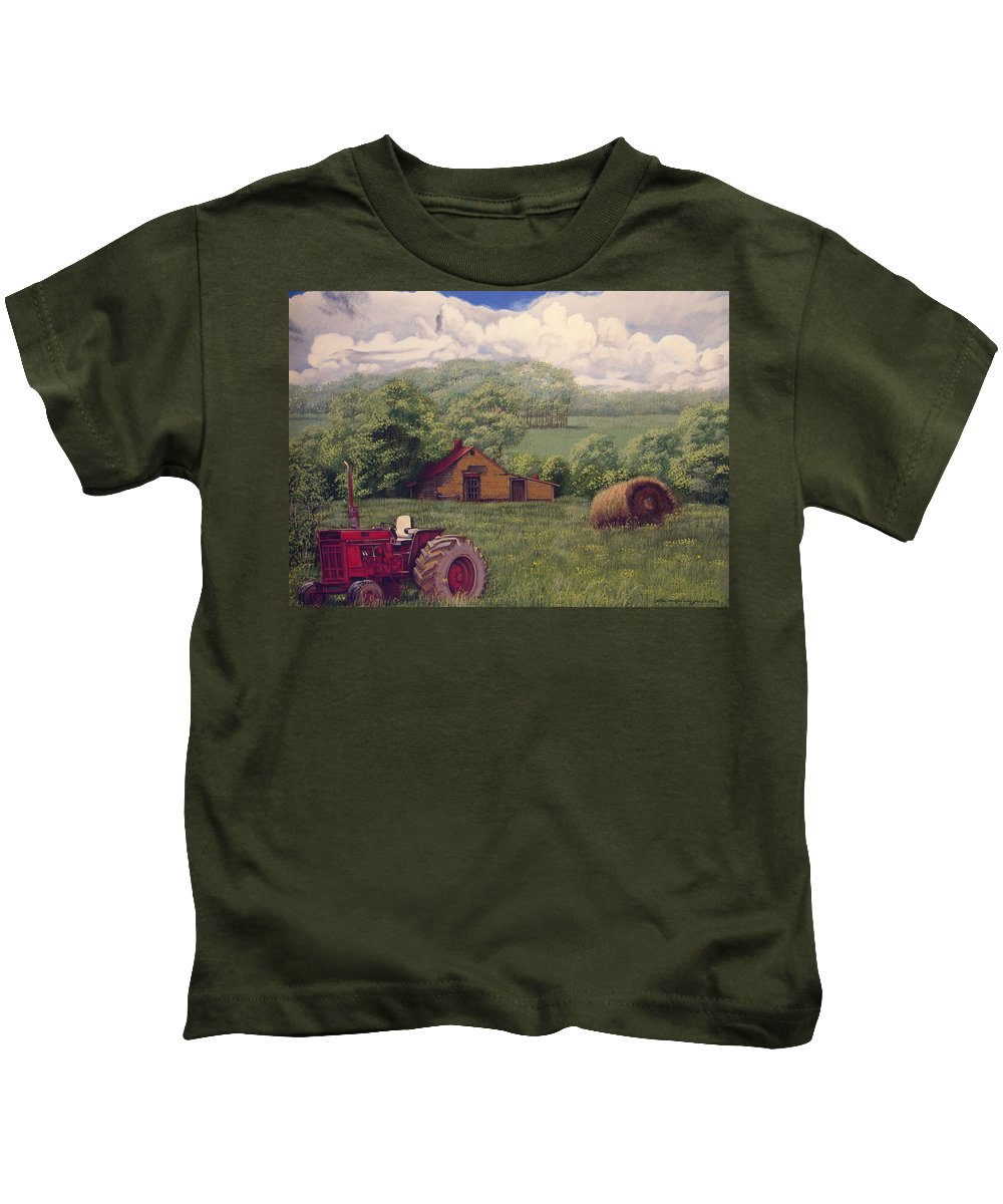 Landscape Kids T-Shirt featuring the painting Idle In Godfrey Georgia by Peter Muzyka