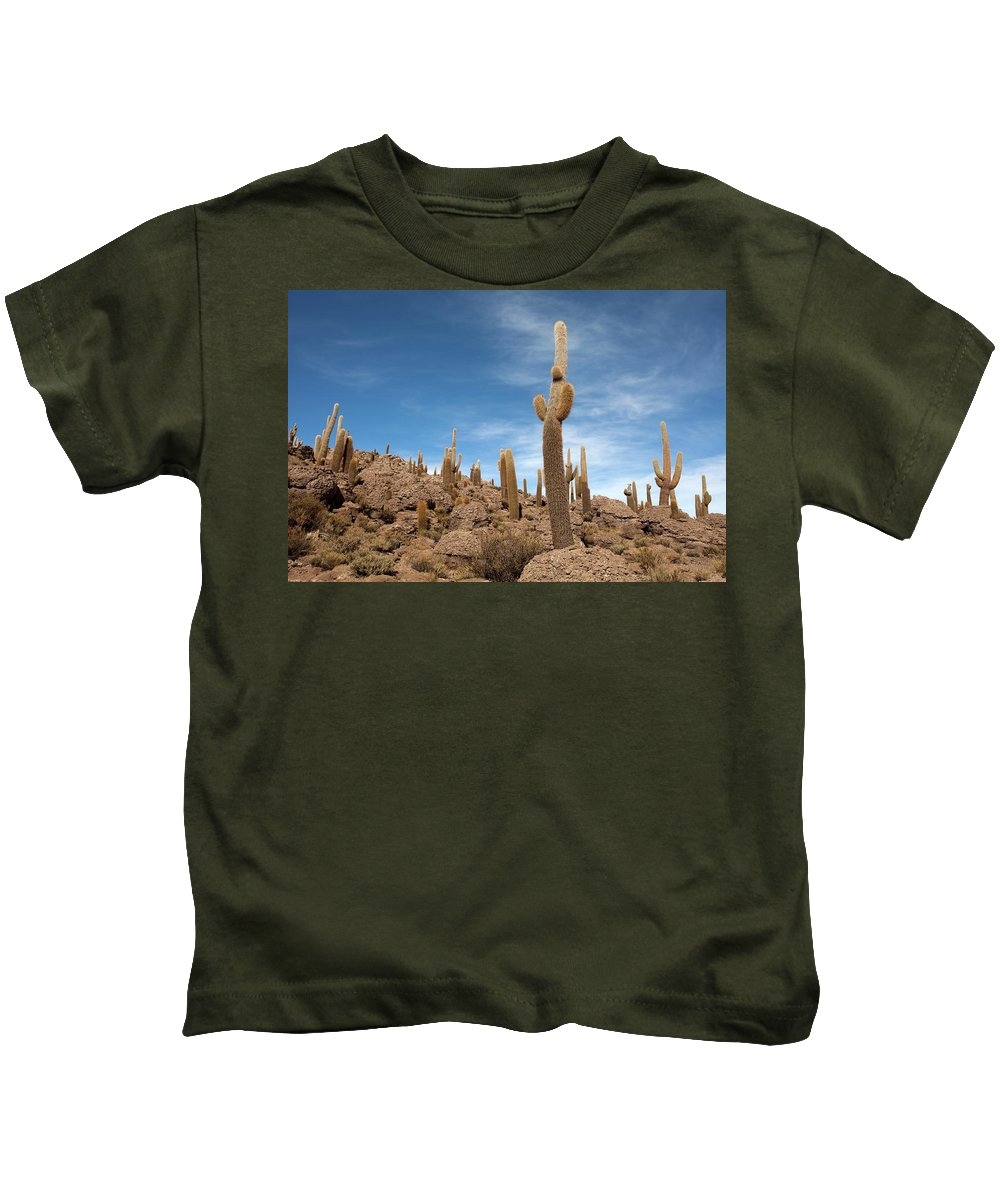 Giant Cacti Kids T-Shirt featuring the photograph Incahuasi Island View With Giant Cacti by Aivar Mikko