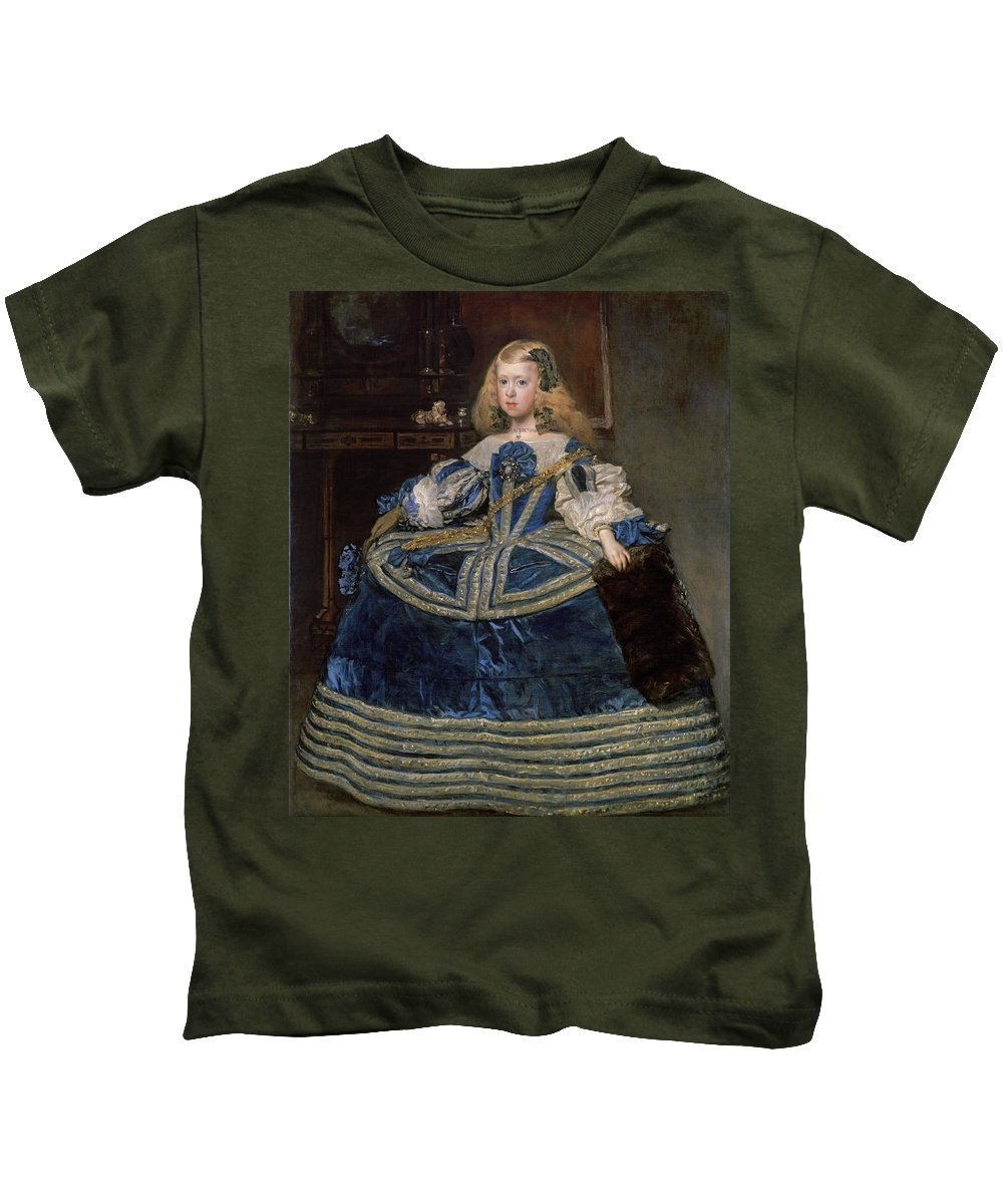 Diego Velazquez Kids T-Shirt featuring the painting Infanta Margarita Teresa In A Blue Dress by Diego Velazquez