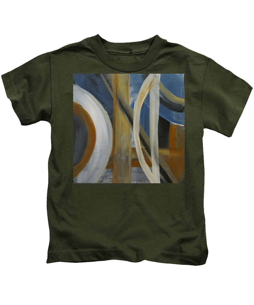 Abstract Kids T-Shirt featuring the painting Intersection In Blue 1 by Anita Burgermeister