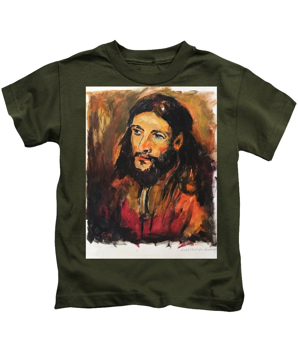 Kids T-Shirt featuring the painting Jesus by Alejandro Lopez-Tasso
