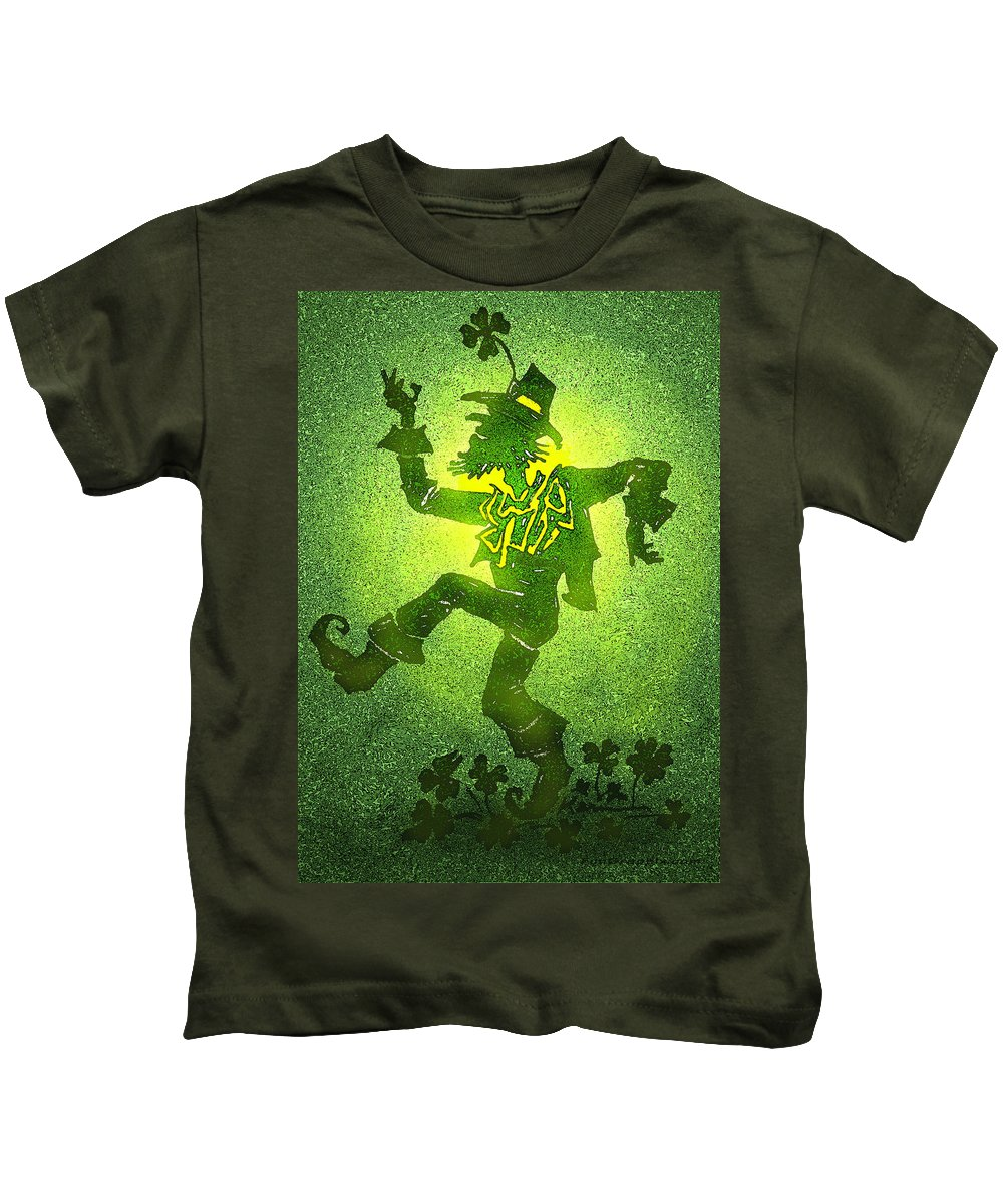 Leprechaun Kids T-Shirt featuring the painting Leprechaun by Kevin Middleton