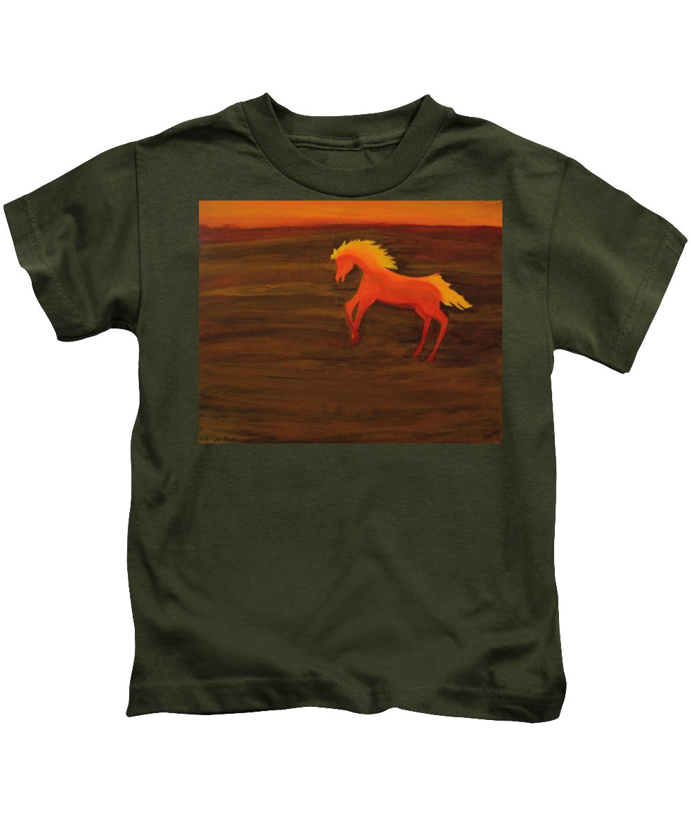 Life On Mars Kids T-Shirt featuring the painting Life On Mars by Laurette Escobar