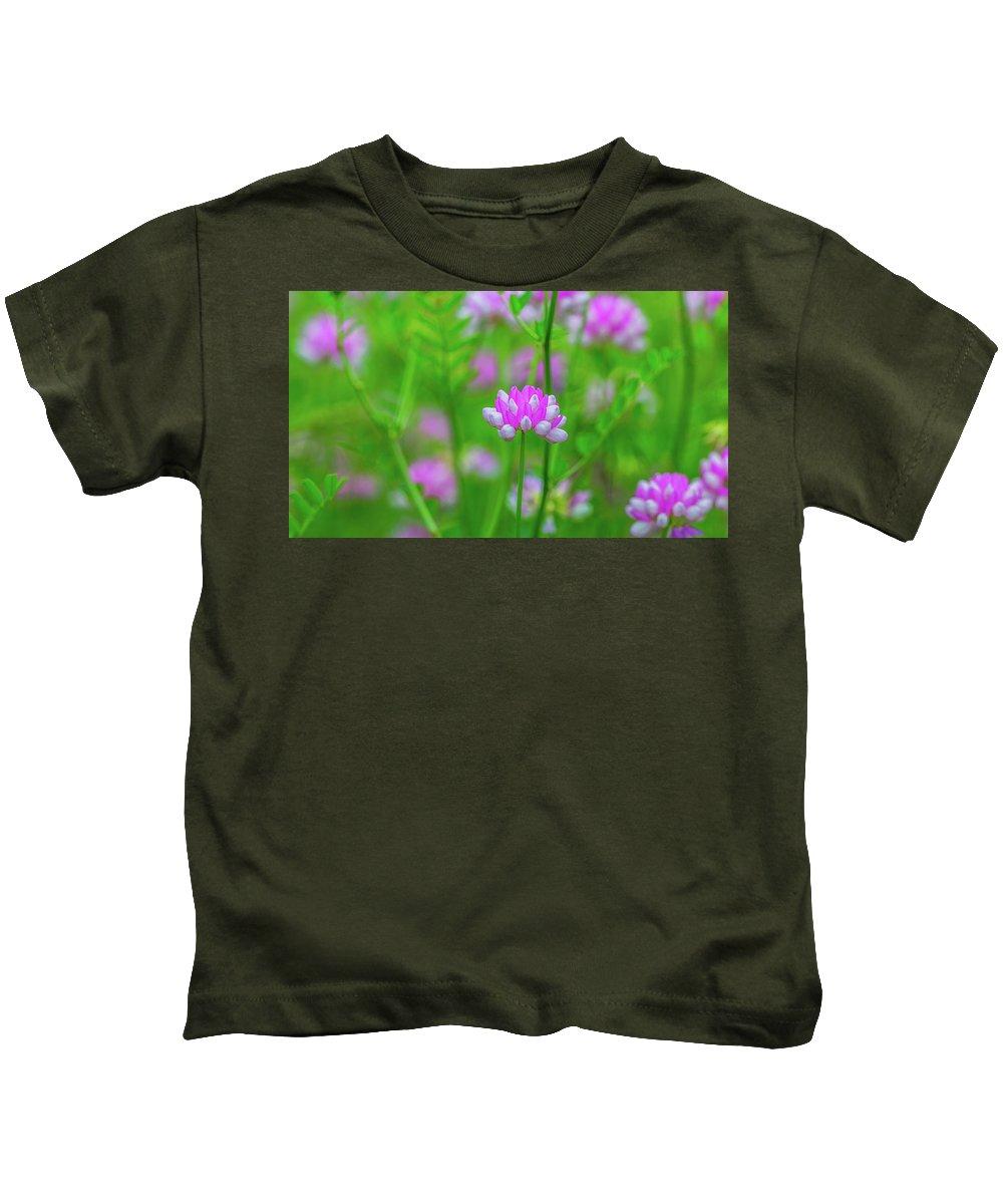 Magenta Wildflowers Kids T-Shirt featuring the photograph Magenta Wildflower by Alex Zabo