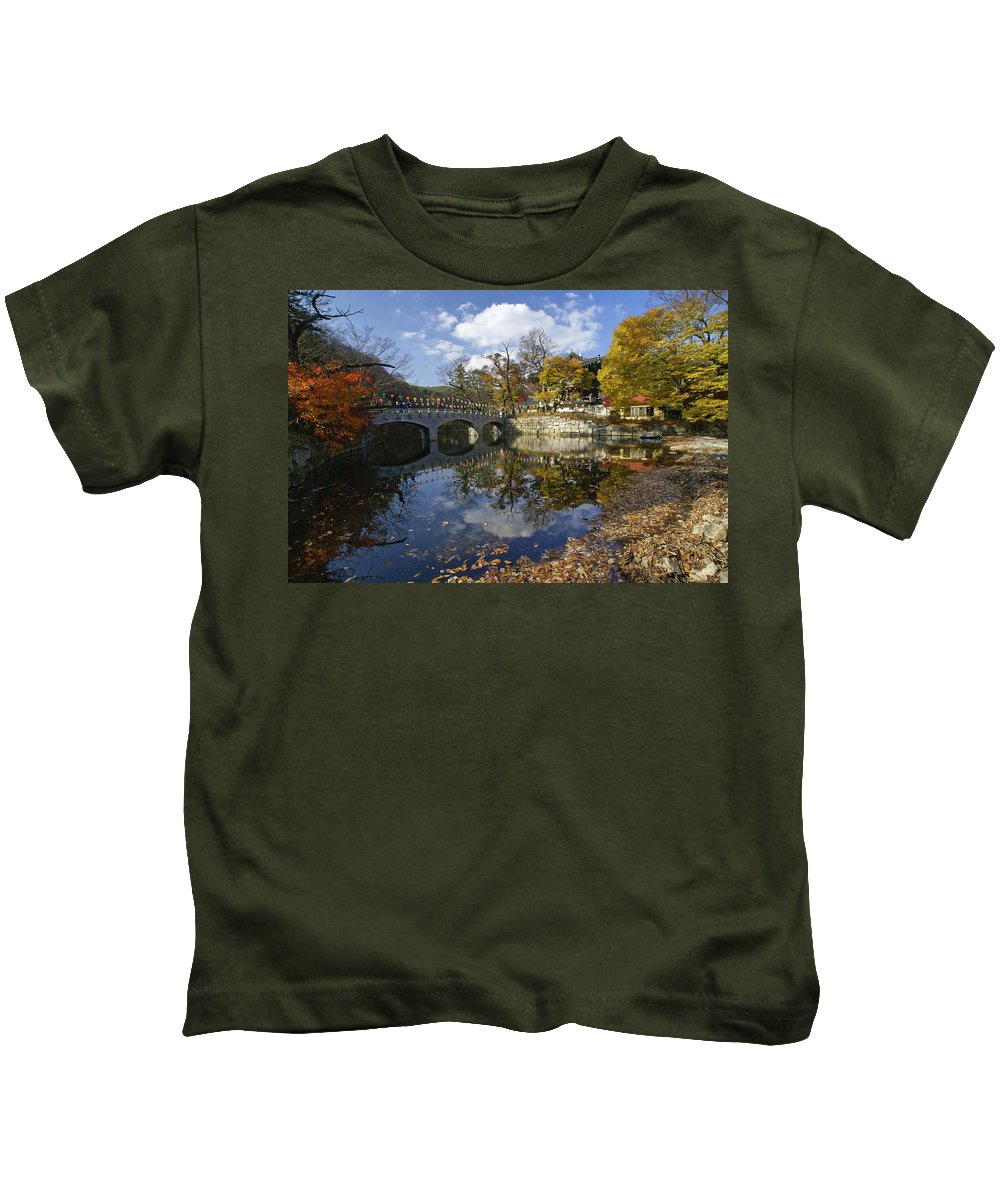 Korea Kids T-Shirt featuring the photograph Magoksa Buddhist Temple by Michele Burgess