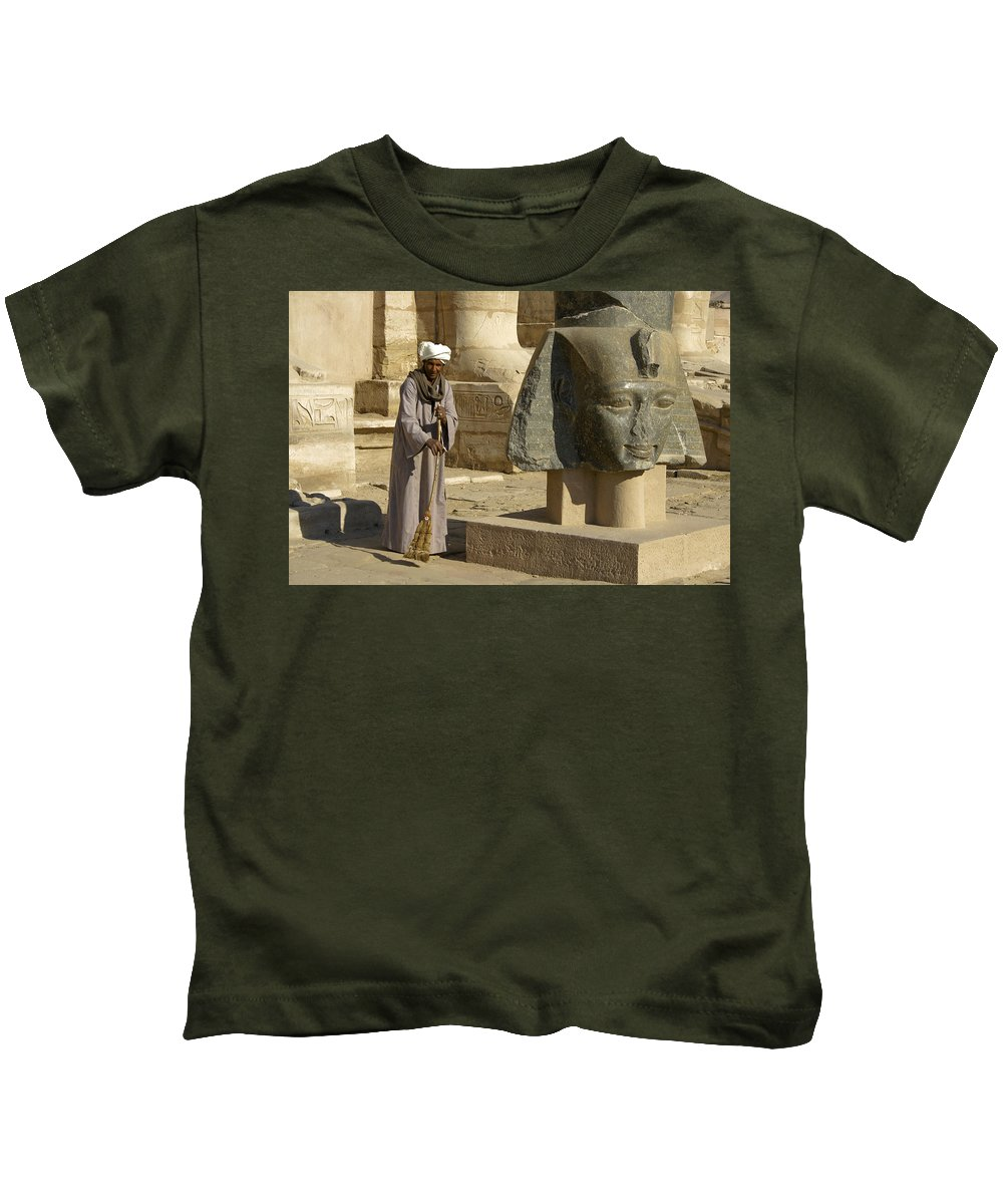 Egypt Kids T-Shirt featuring the photograph Mortuary Temple Of Rameses II by Michele Burgess