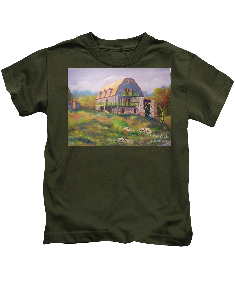 Mill Kids T-Shirt featuring the painting Mountain Mill by Hugh Harris