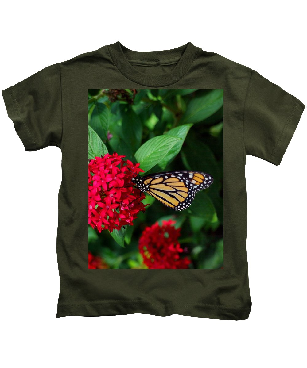 Monarch Kids T-Shirt featuring the photograph Musing Monarch by Michiale Schneider