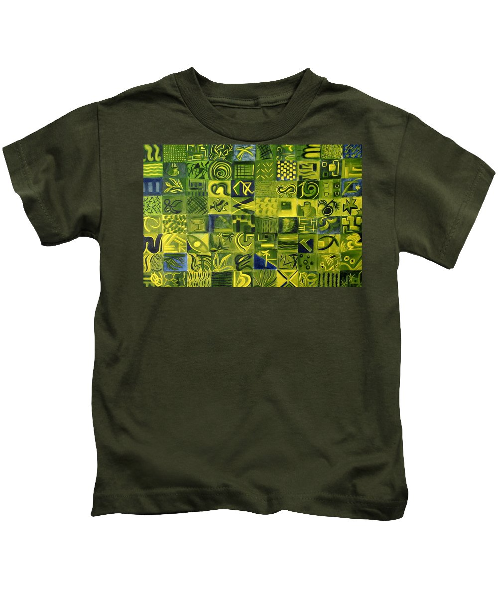 Green Kids T-Shirt featuring the painting Night On The Lawn by Patricia Cleasby